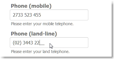 How to setup phone input field masks for your region/country