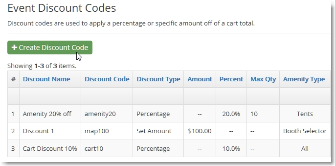 View the list of discount codes you have created.