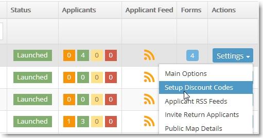 click Setup Discount Codes from Event dropdown menu