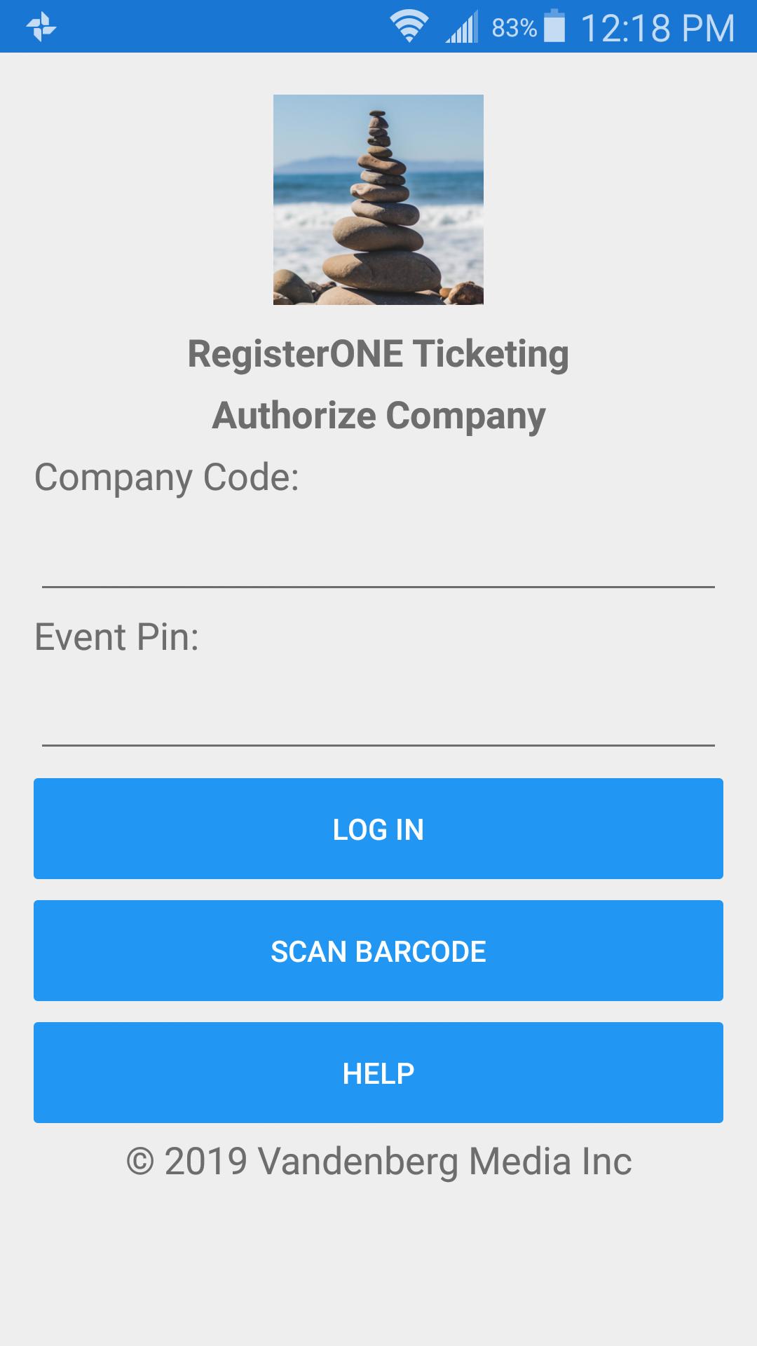 Scanapp authorize company screen.