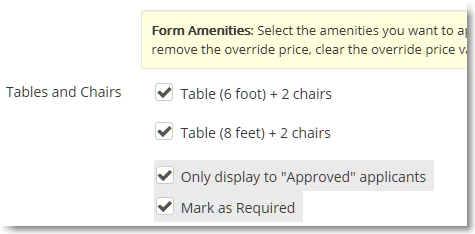 New Hide and Require options for each amenity type displayed on a form.